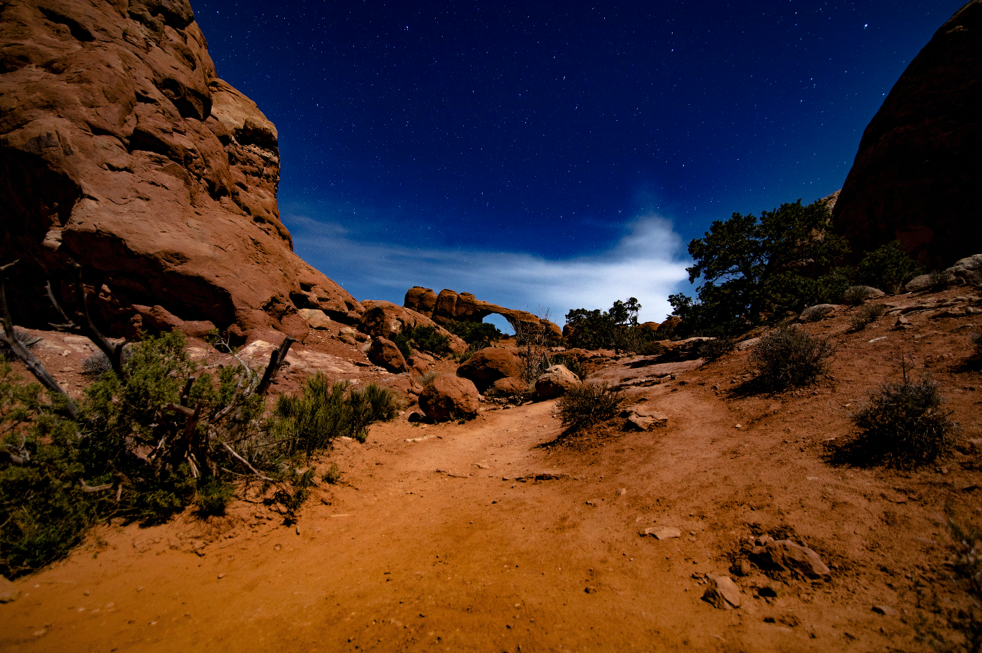 Arches National Park after dark