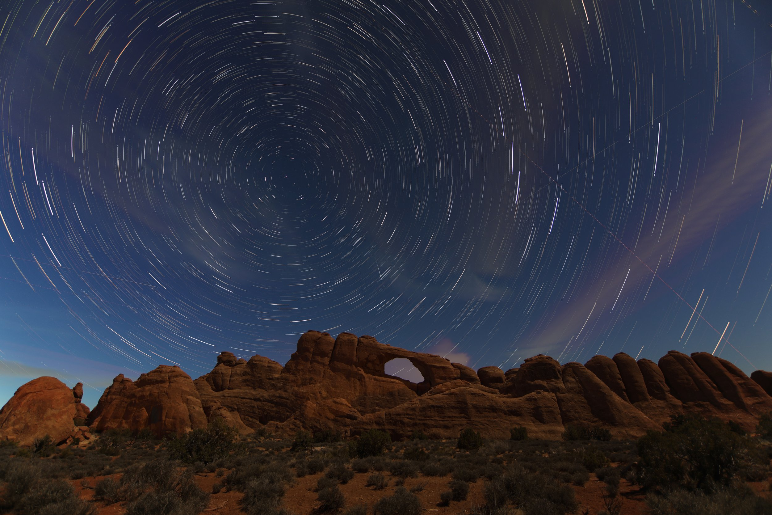 This is 120 separate images layers and take on over an hour span in Arches National Park