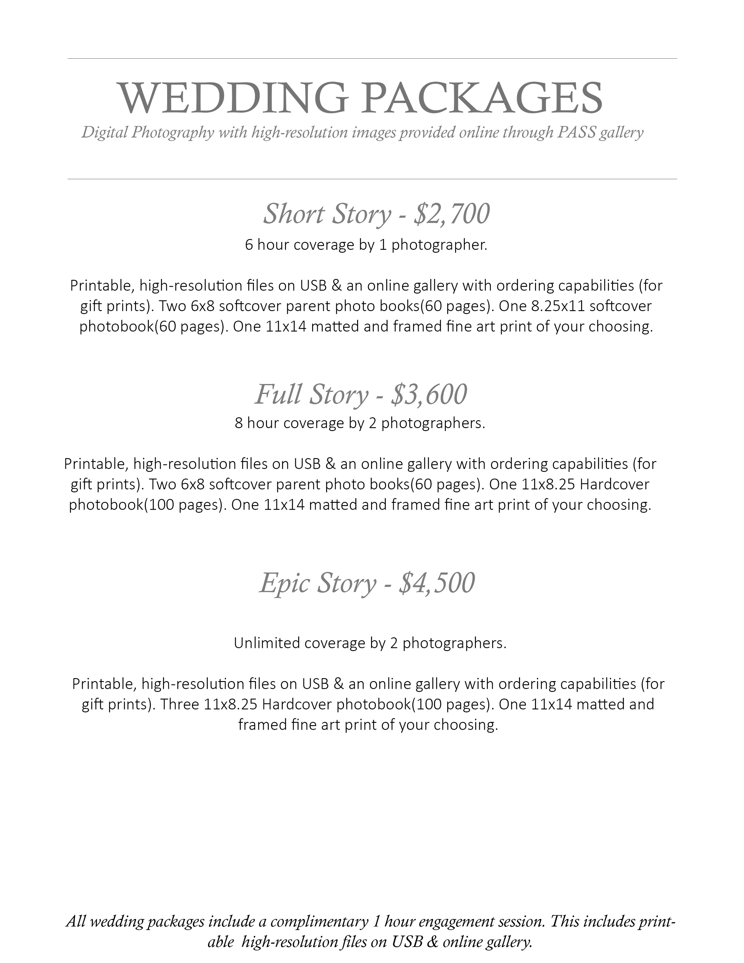 2015 Wedding Pricelist