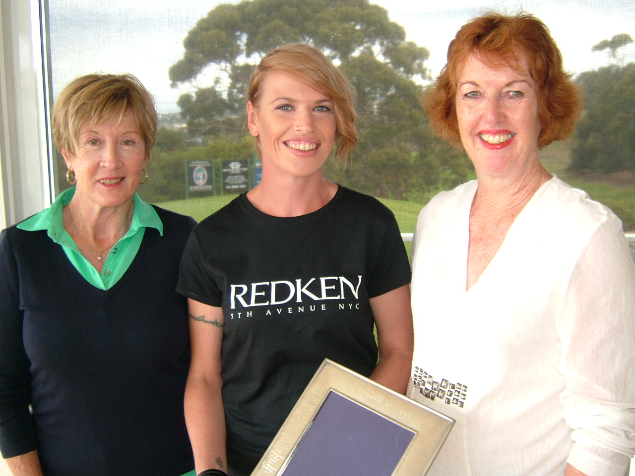 Taryn of JaDS Hairdressing (Centre) with Winners Julie Howard (L) and Lyn Sinclair (R)