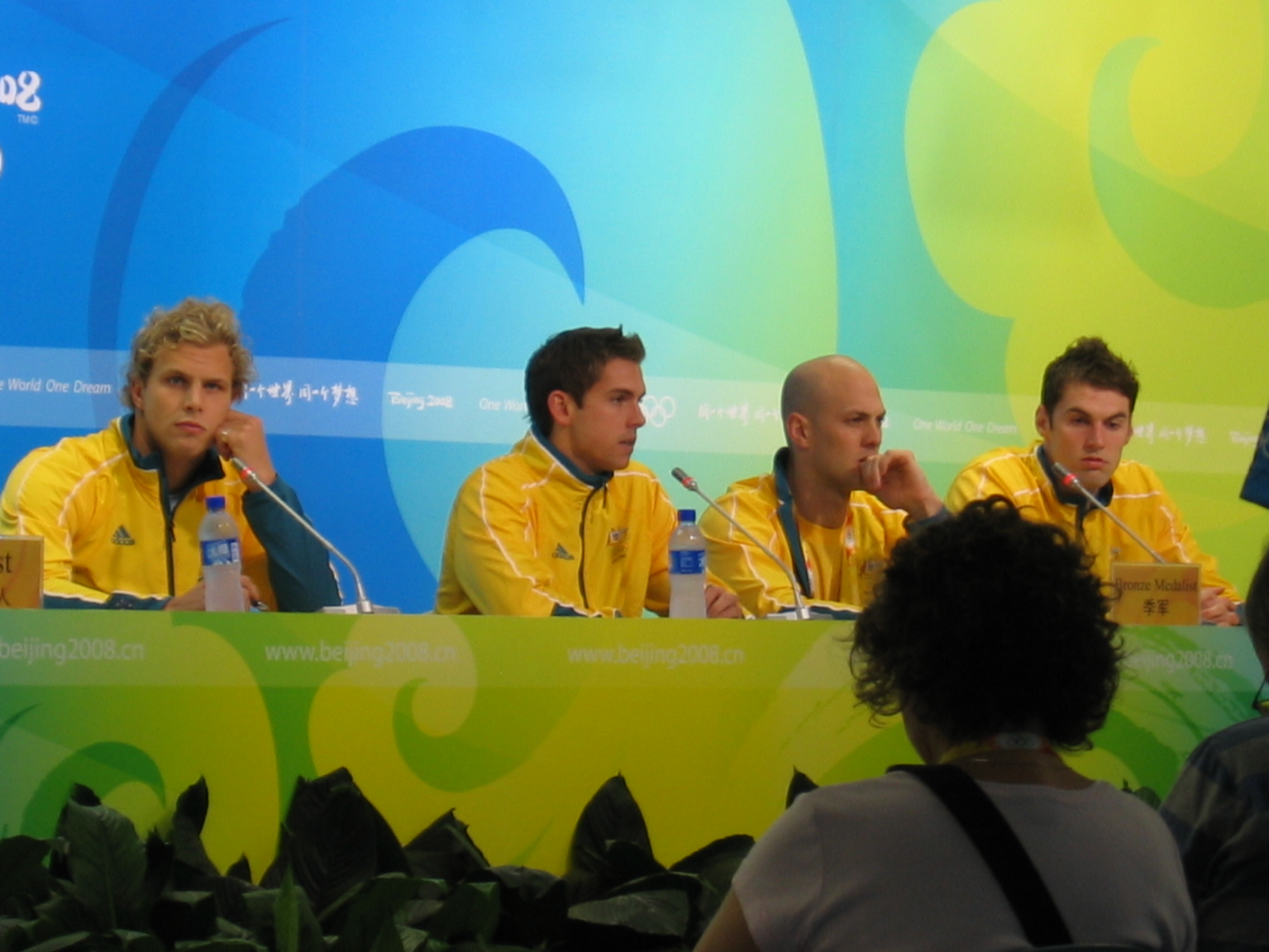 Press conference in the Water Cube
