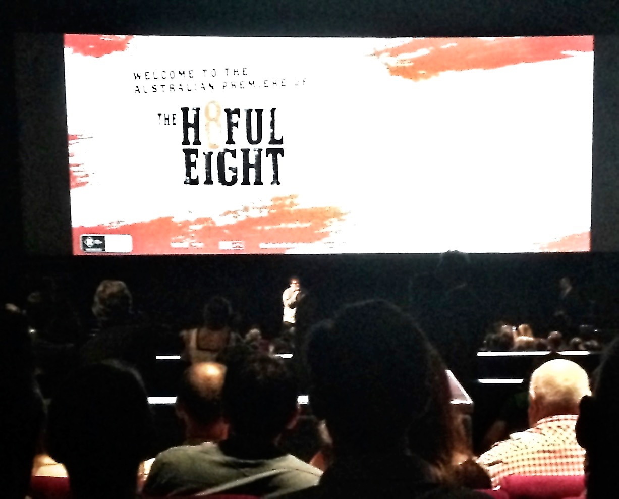 View from our seat of Quentin Tarantino addressing the audience.