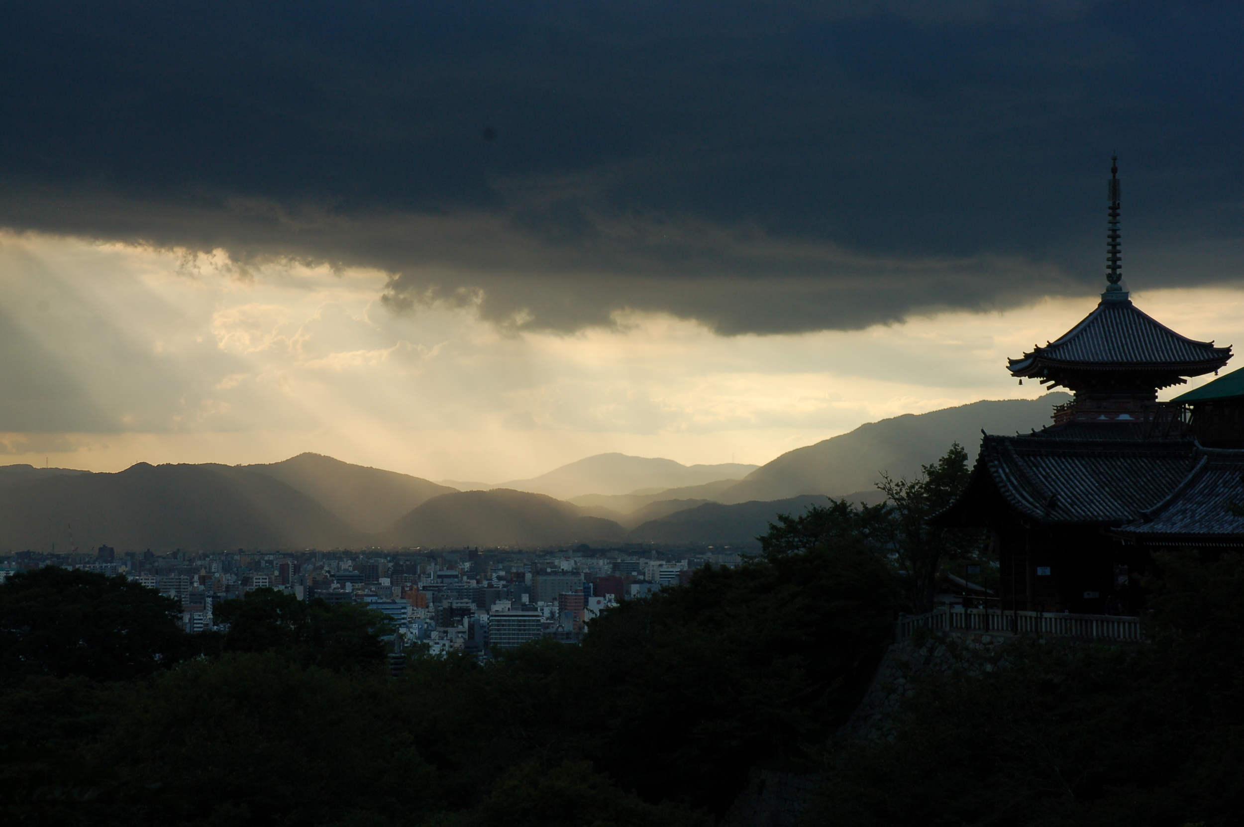 Sunlight bathes the city from Kiyomizu-dera Temple