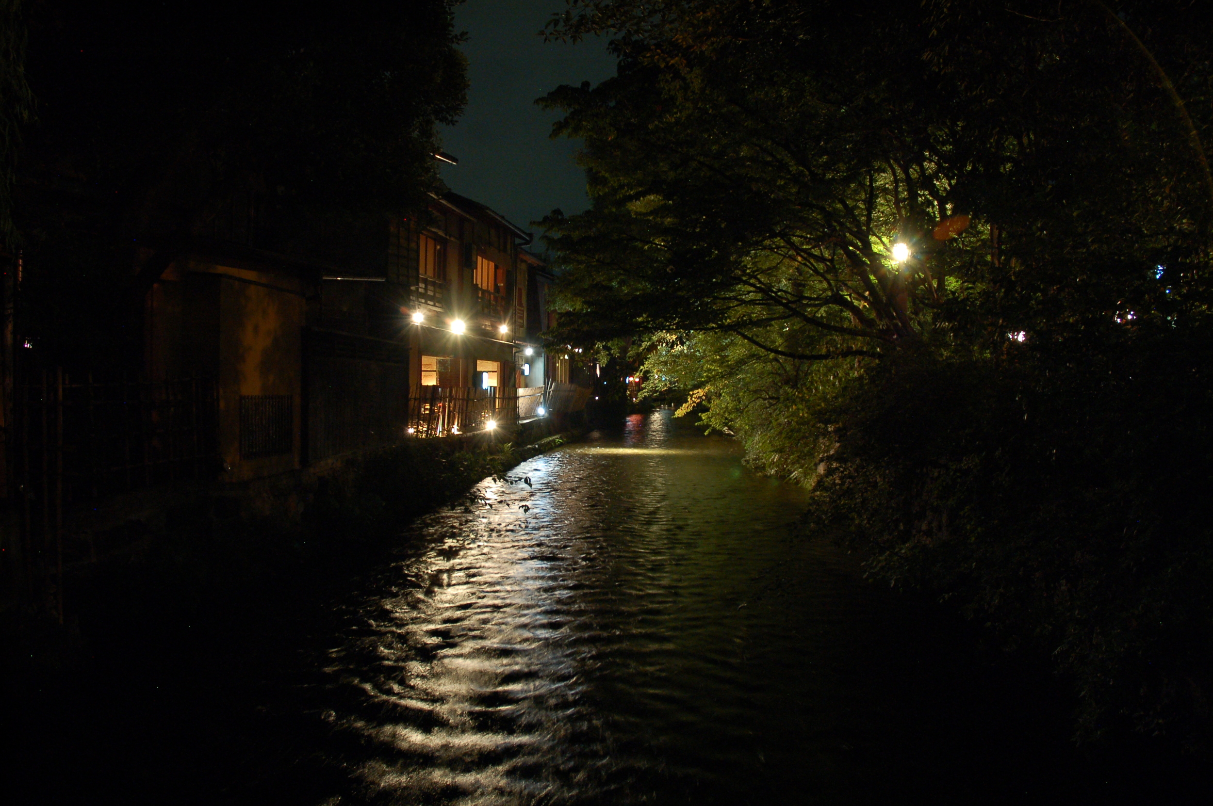 The waters of the Takasegawa trickle behind the restaurants and bars in the Pontocho area