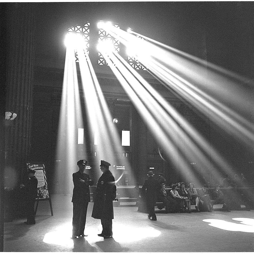 Photographer: Jack Delano. Chicago, Illinois. In the waiting room of the Union Station (1943) Library of Congress.
