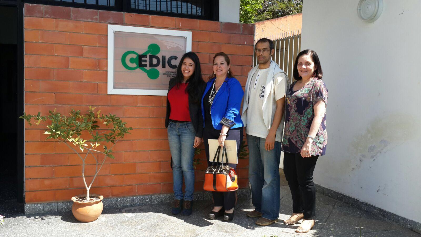 Alejandra Vera de la UA, Cesia Villalba del Senepa, y del CEDIC Diego Dorigo y Antonieta Rojas de Arias.