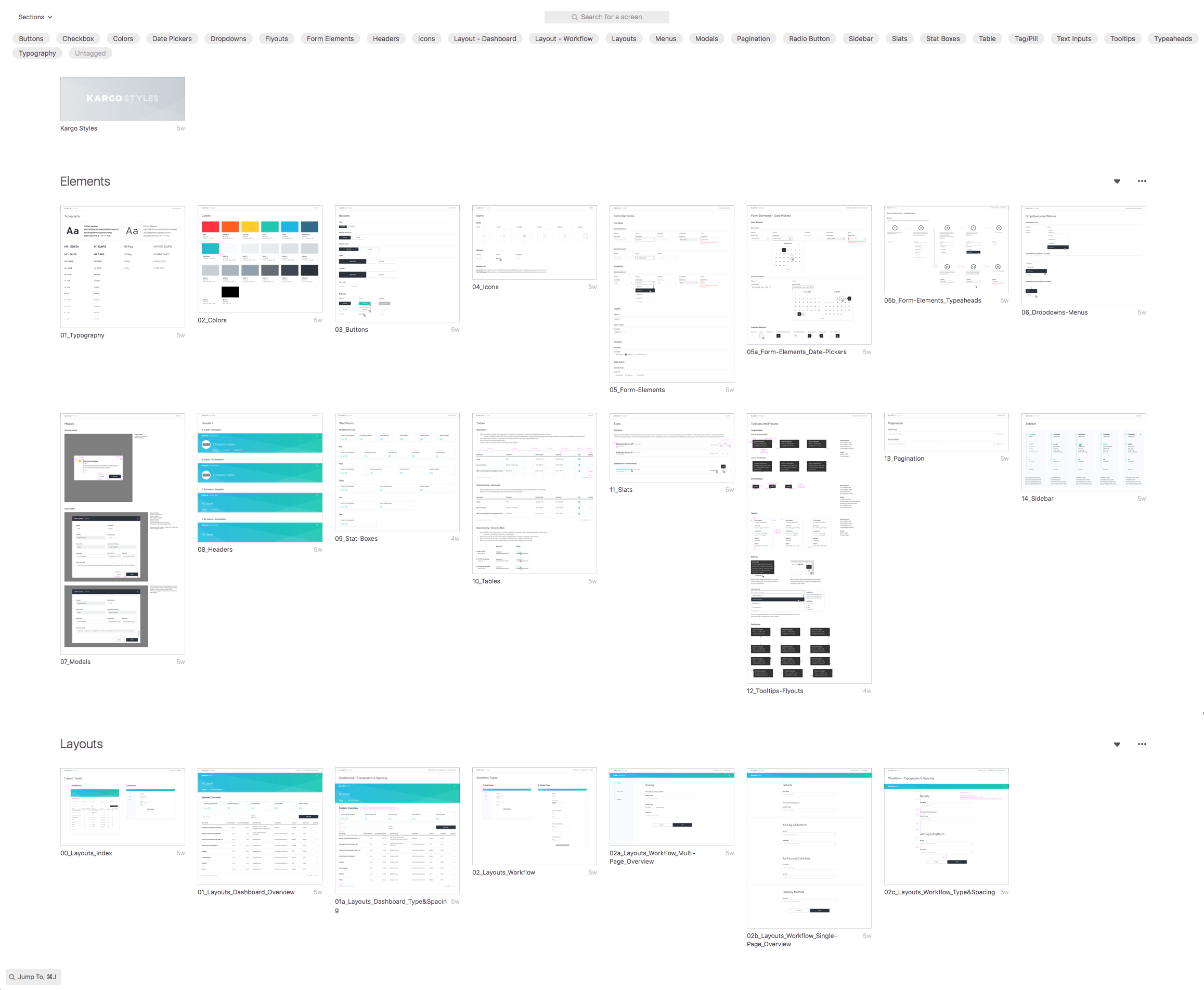 Zeplin view of our Styleguide for prototyping