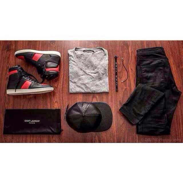 @Luxeluce00 Saint Laurent sneakers , Fear of God LA tee.