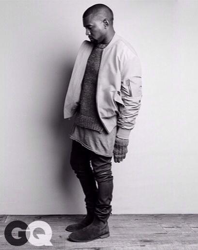 Kanye West for GQ : wearing Fear Of God LA bomber jacket in Grey.