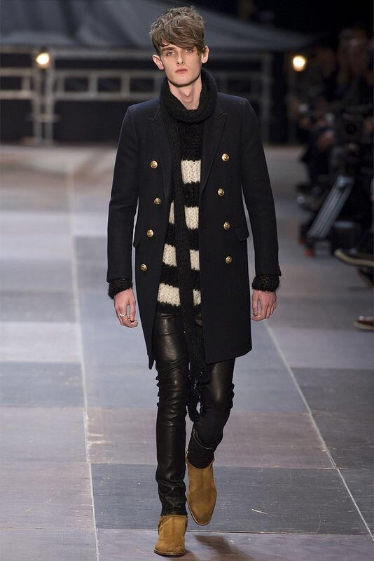 Saint Laurent AW13 Perfect layering with scarf.