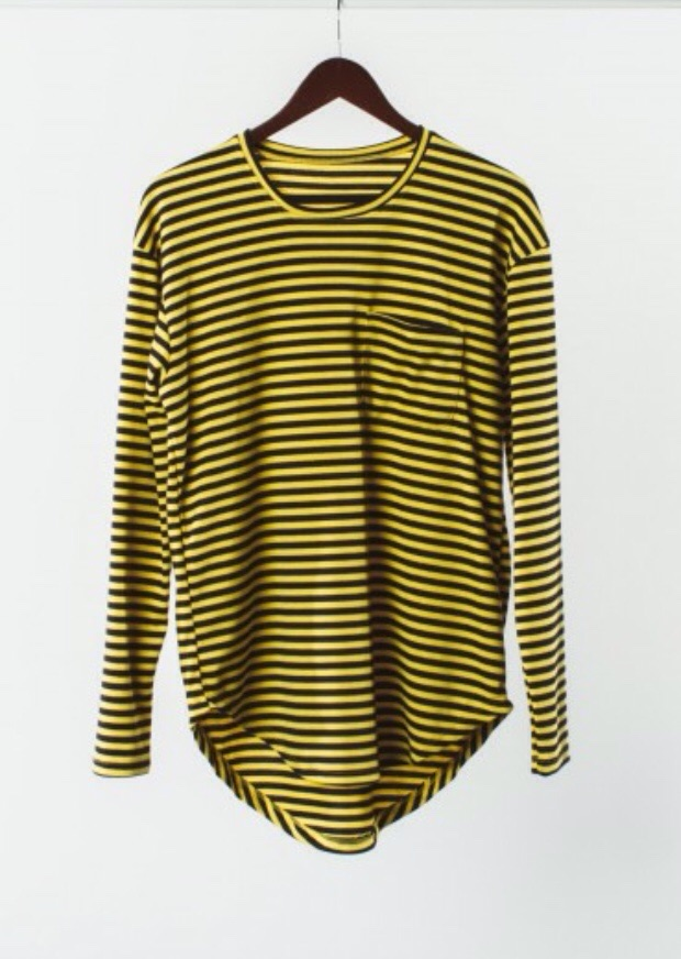 The PunkPullover. Thisis a slim cut Yellow and Black Ponte Knit wear with a scalloped hem. I am loving this this Scalloped hem. Its different and makes this piece stand out. I like the Black and yellow stripped too, different from the usual black and white we always see.
