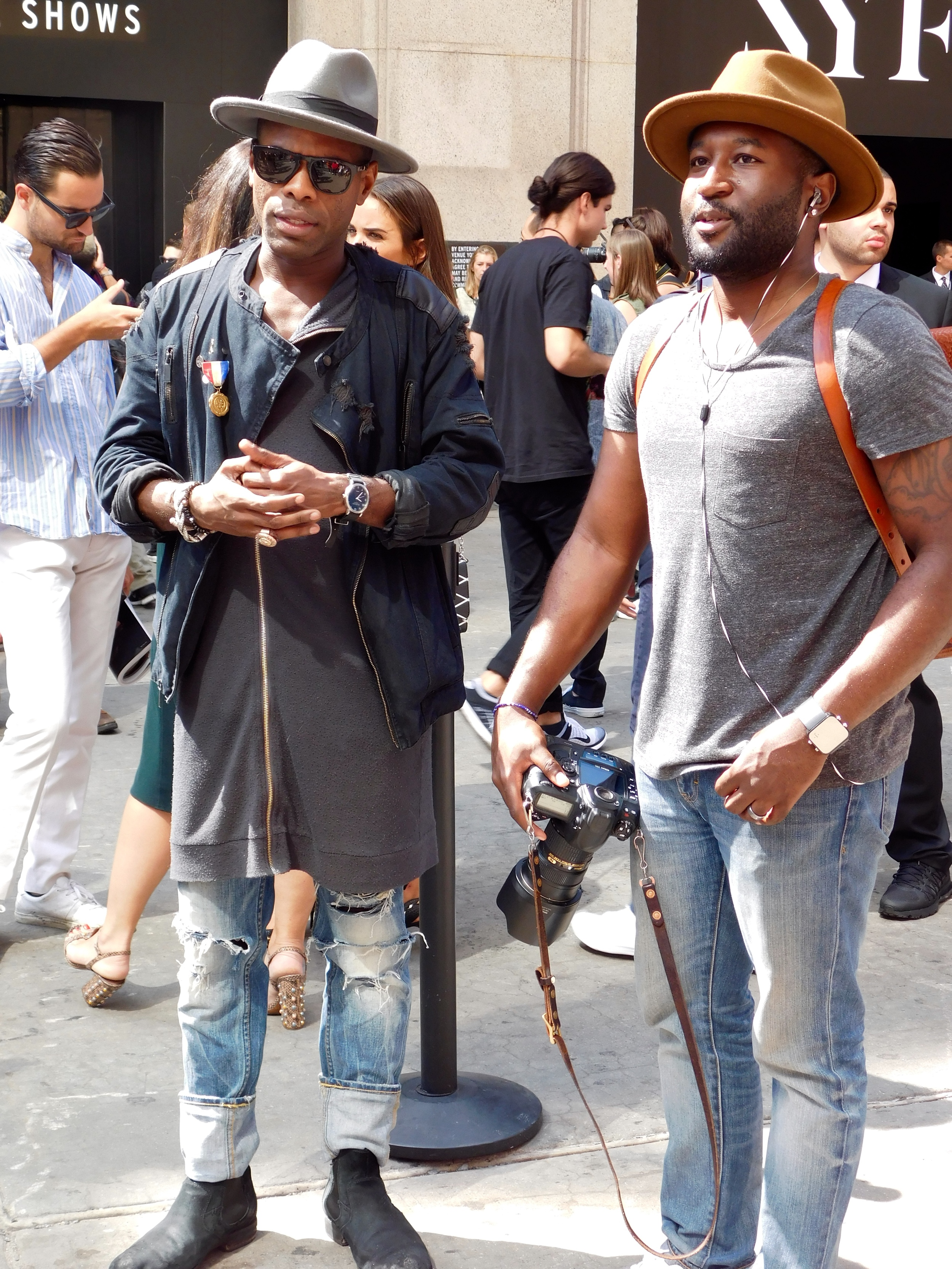 Kieno Benjamin of GQ and George Elder for Four Pins killing it in the Wide Brim Fedoras.