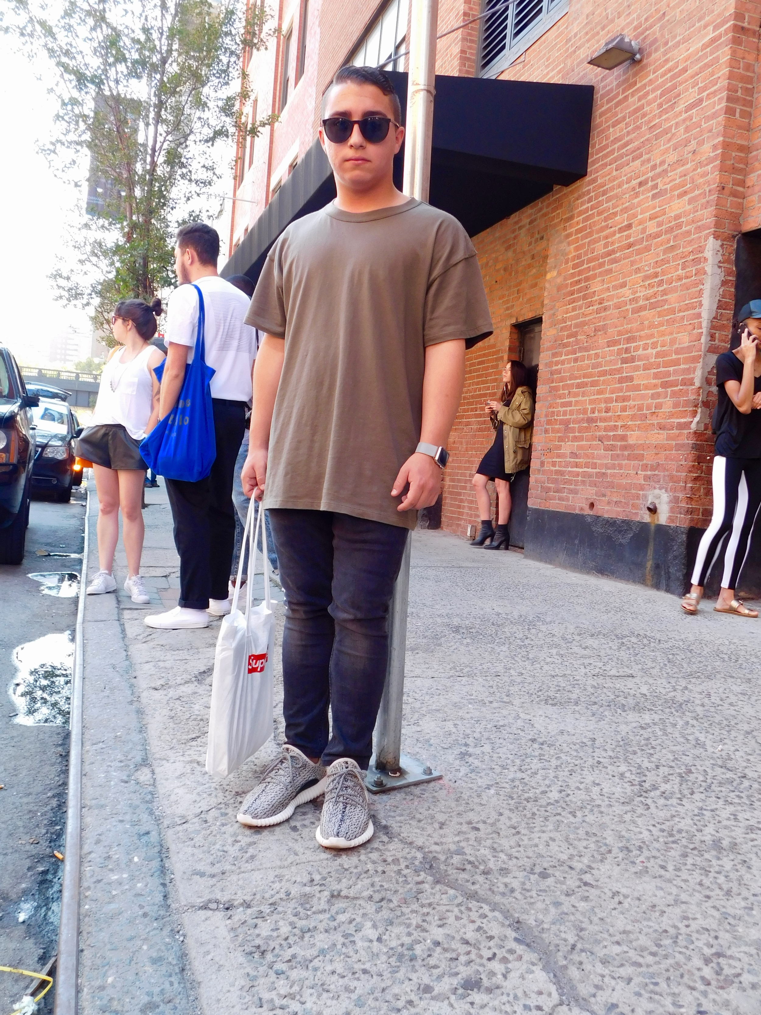 Corey D'Angelo wearing Fear of God with his Yeezy 350 boosts.