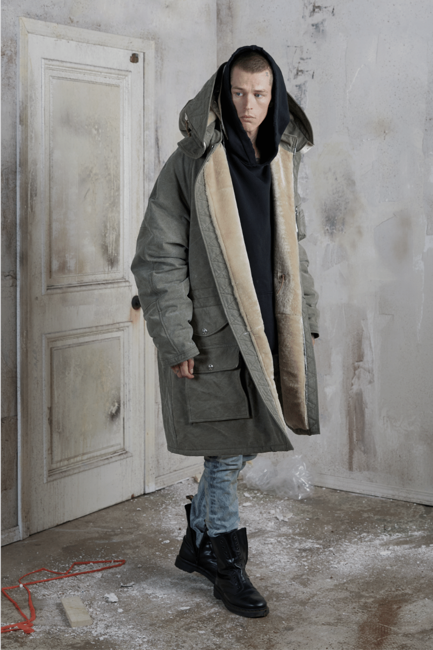 WWII Trench Jacket, reclaimed military tent fabric, sherpa lined.