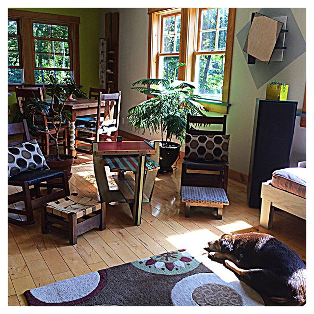 Lounging on a hot summer day in Maine at studio Pigandfish.  There is a kitten in this photo too. #hotsummerday #maineliving #tryingtostaycool #insidethestudio