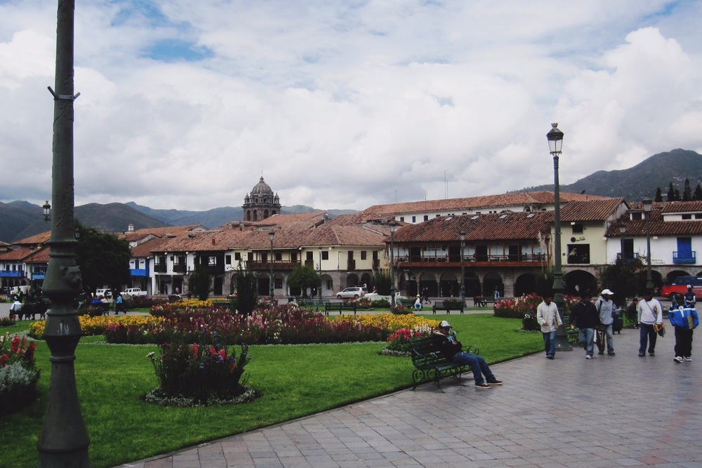 Plaza in the heart if Cusco, the city at the base of Machu Picchu