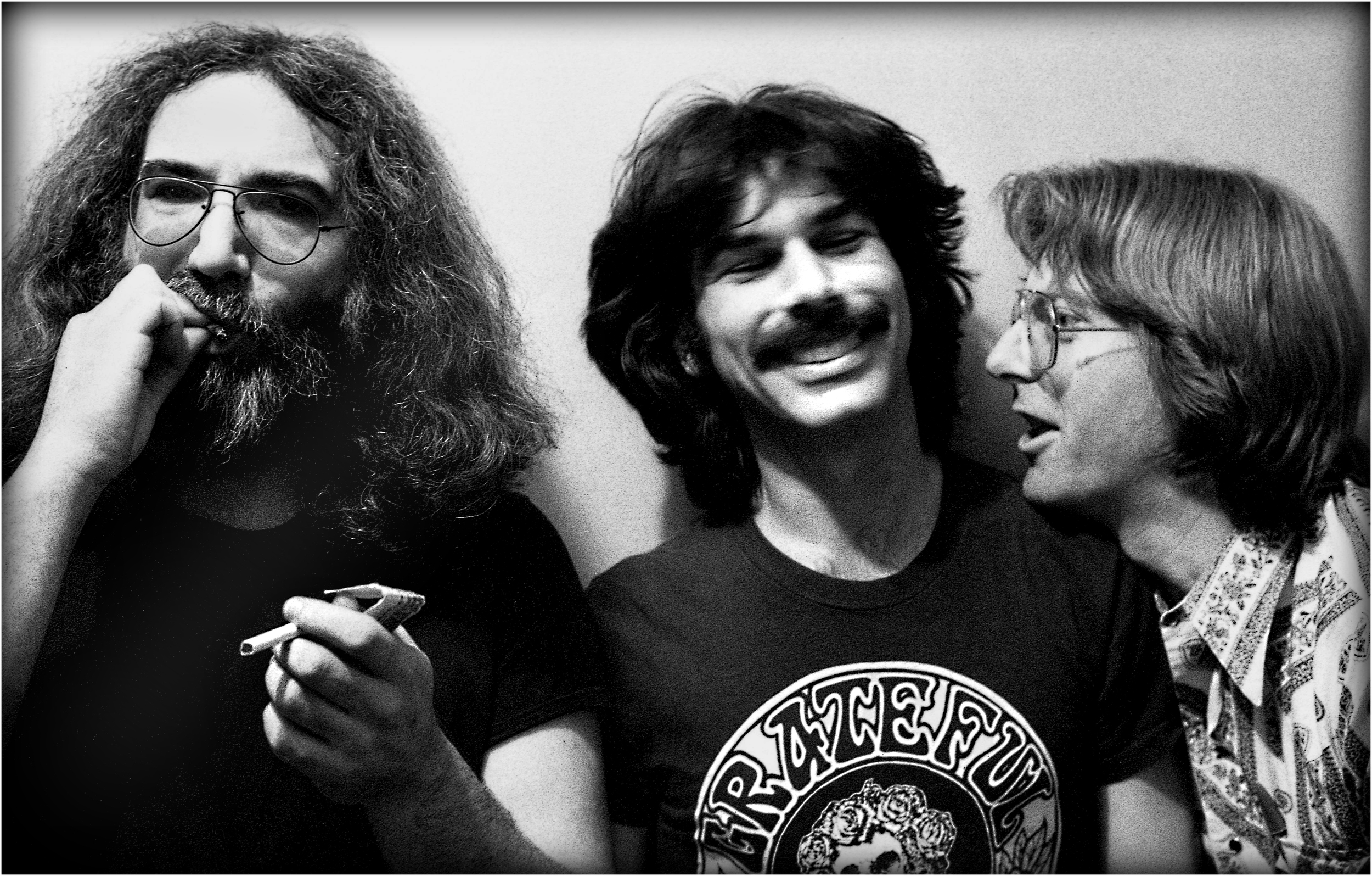 """A Pause Between Sets"" - Garcia, Hart and Lesh share refreshments backstage at the Palladium, NYC 1977."