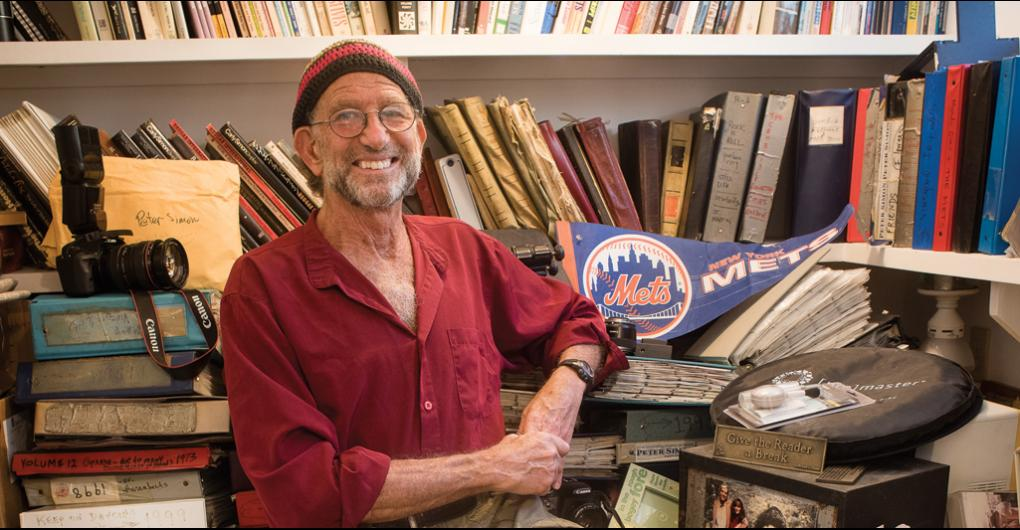 Peter Simon at home with his archives. Photo Credit: Alison Shaw