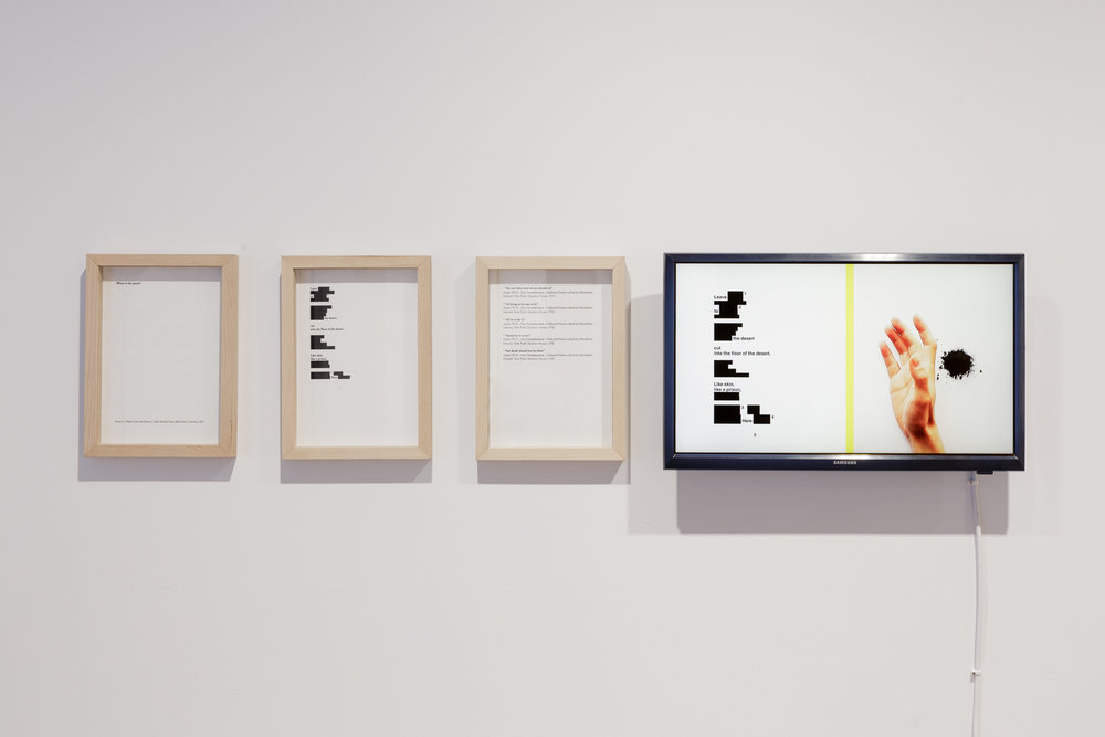 Installation view (Where is the poem)  C-print, video