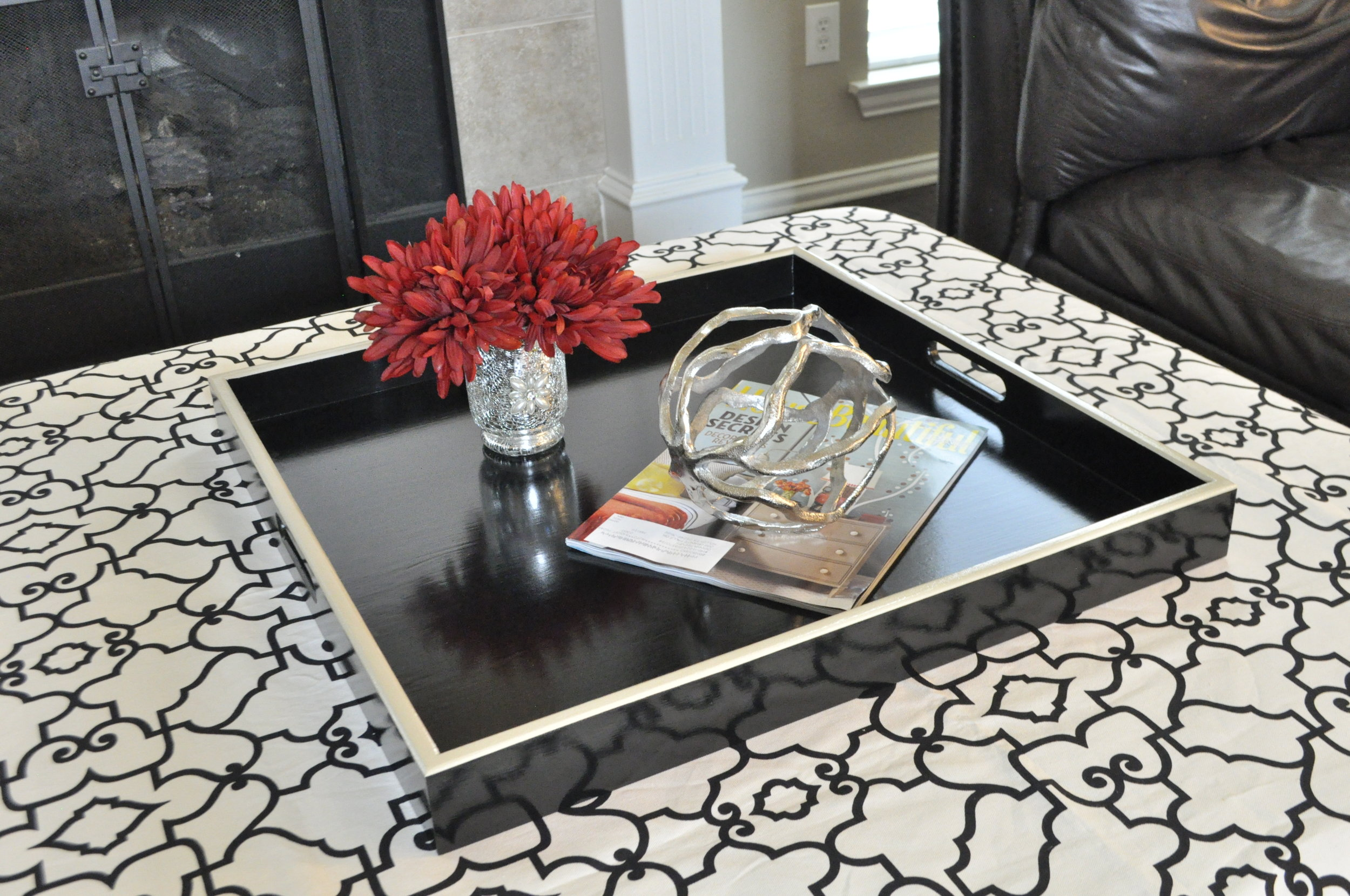 Black with Cream Trim Square Tray