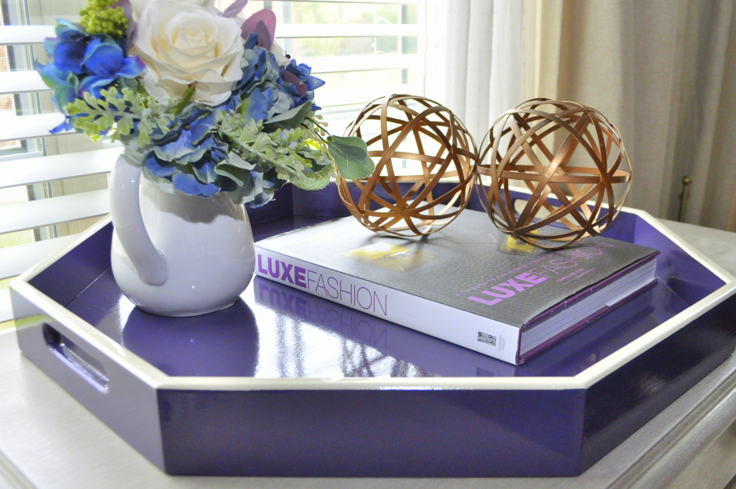 Purple with White Trim Octagon Tray