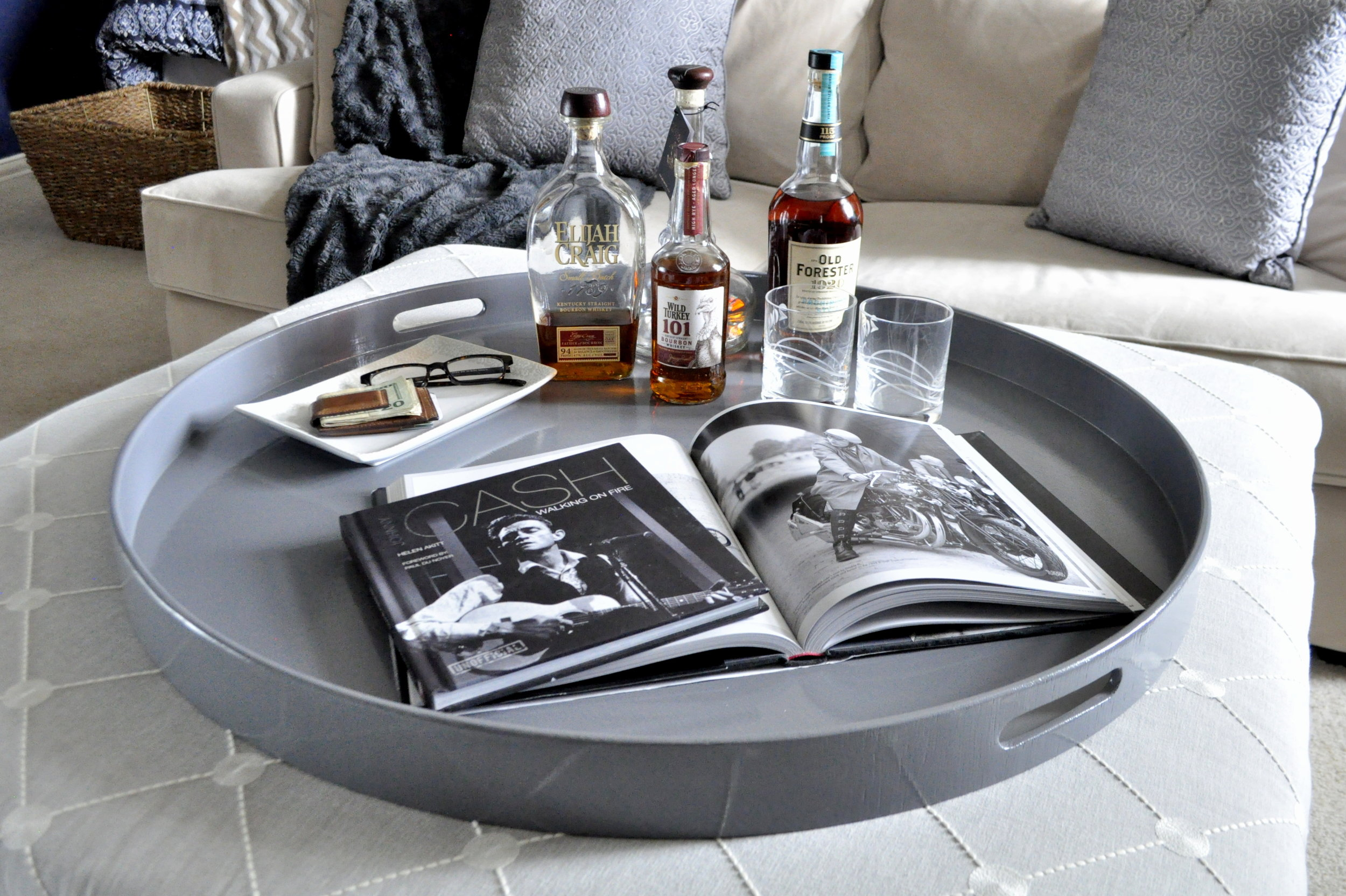 Dark Gray Round Tray