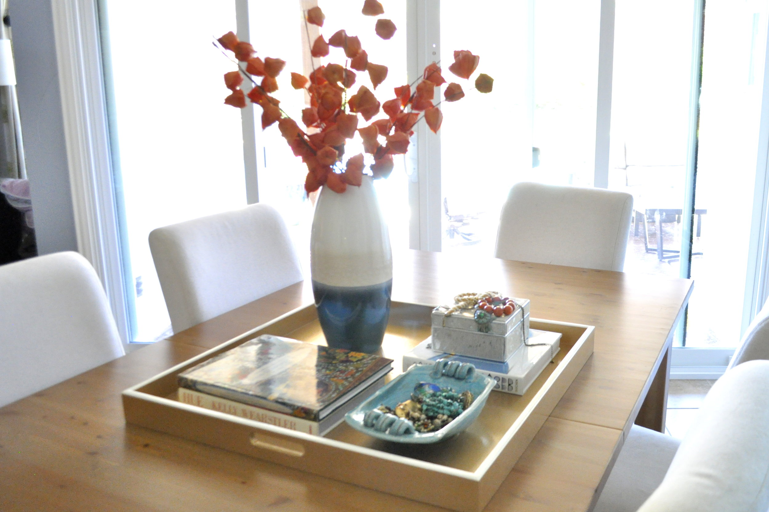 Gold with Linen White Trim Square Tray