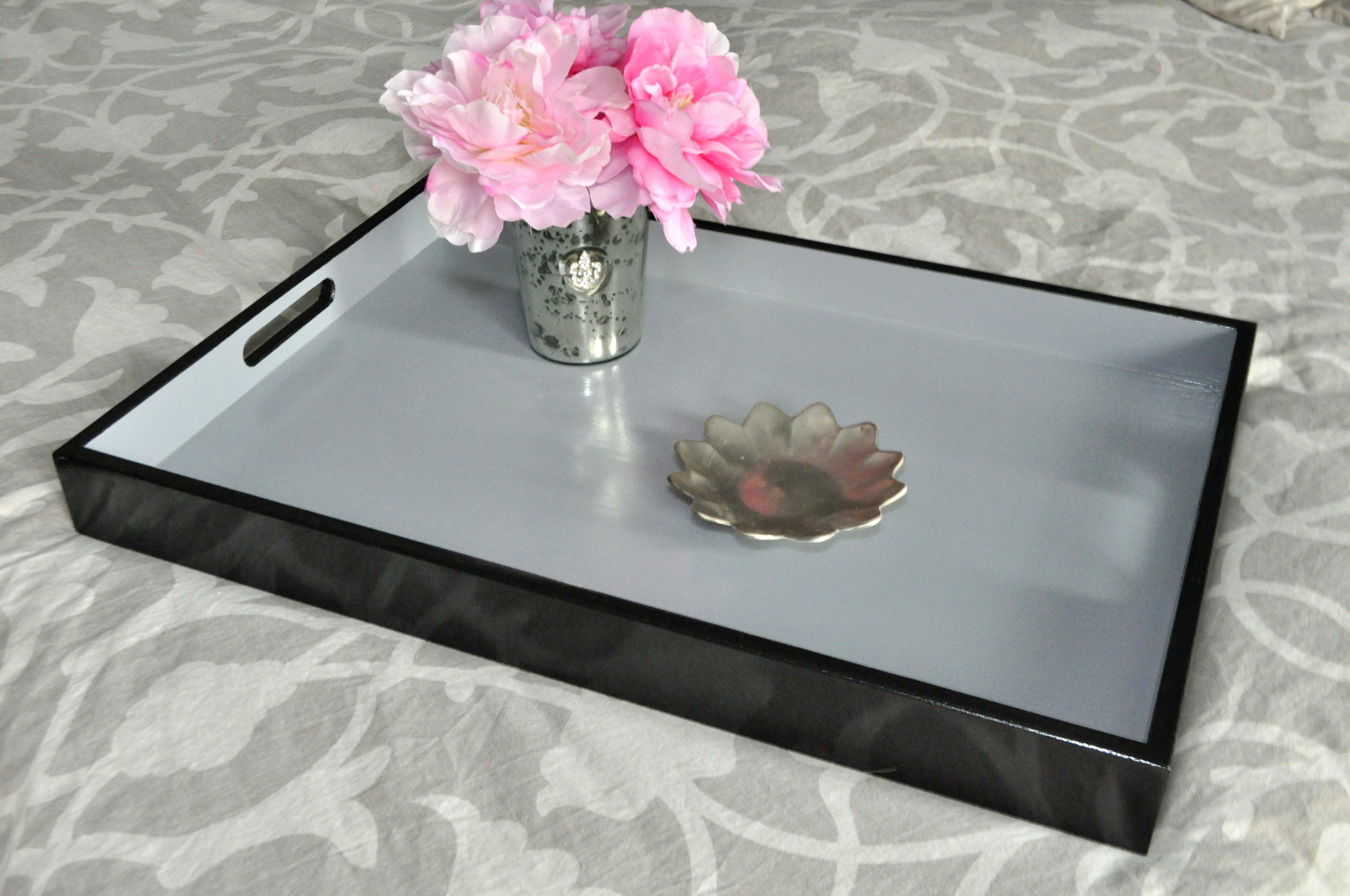 Black with Gray Interior Rectangle Tray
