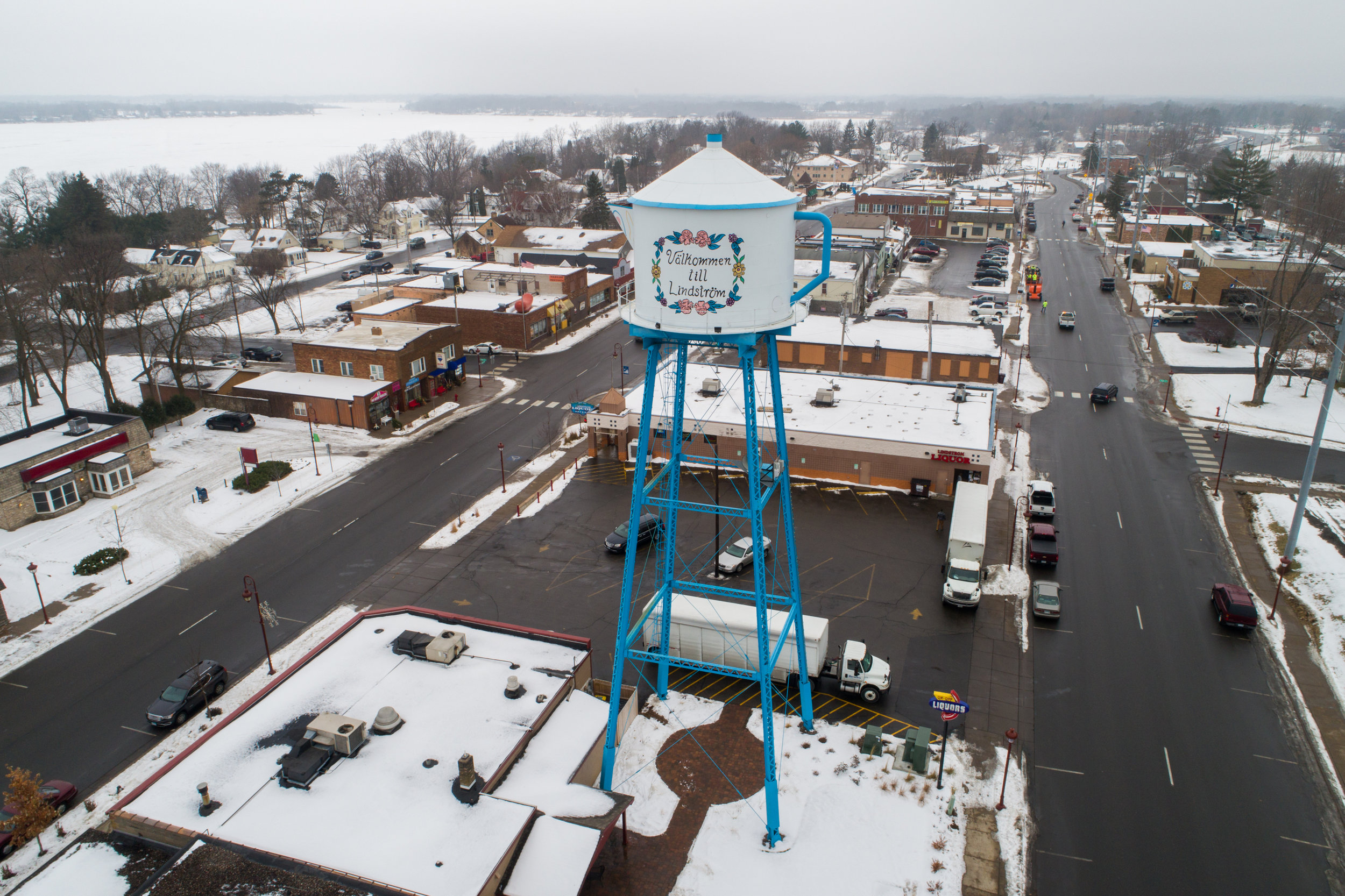 Aerial photo of Lindstrom on their water tower in the form of a Swedish Tea Pot.