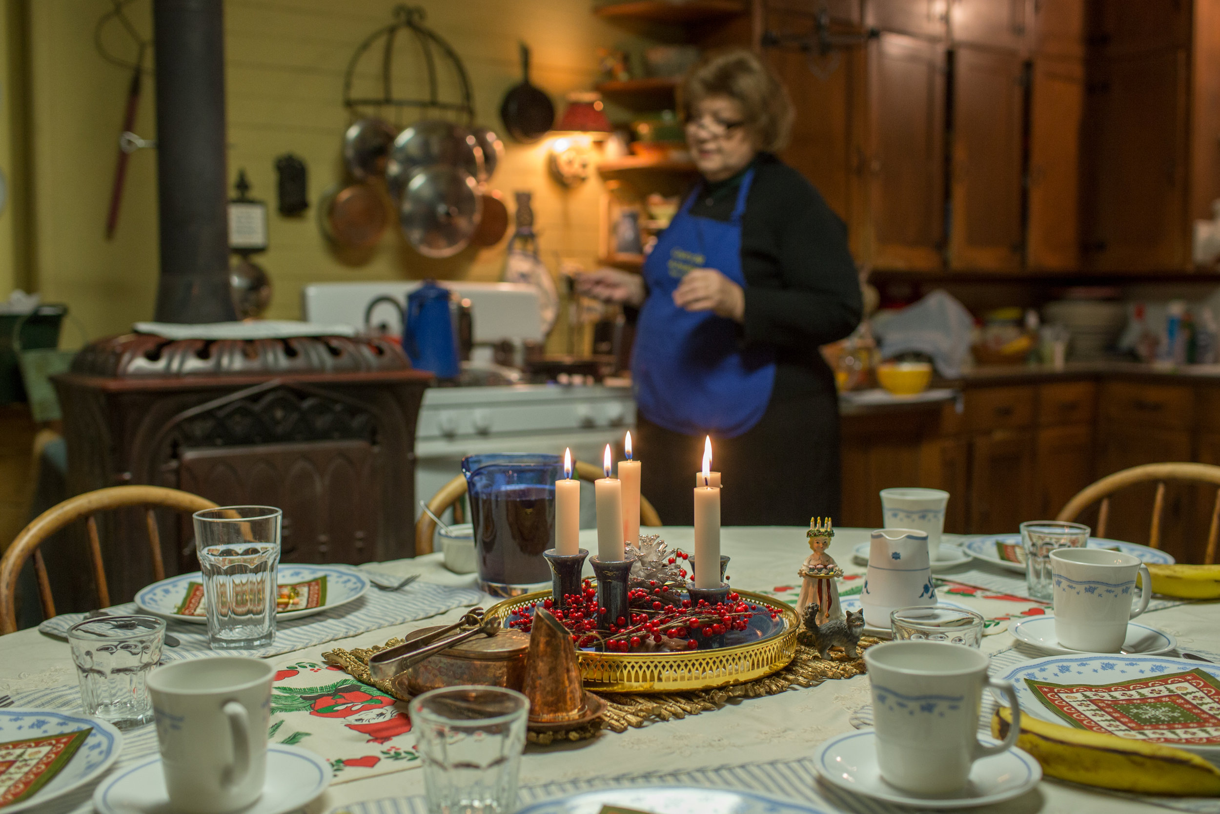 Host, Sally, prepares a Swedish inspired breakfast for her guests complete with old world Swedish Egg Coffee and a table setting celebrating St. Luccia Day. She runs this bed and breakfast in the home she grew up in, an original immigrant farm house from 1948. She is a self-proclaimed pilar in the Swedish community, very involved in the county, and inspired to continue her family's Swedish traditions. Owner of the BnB, she also guides tours in the Chisago area focused on Swedish history, as well as guides tours to Sweden. Swedish speaker.