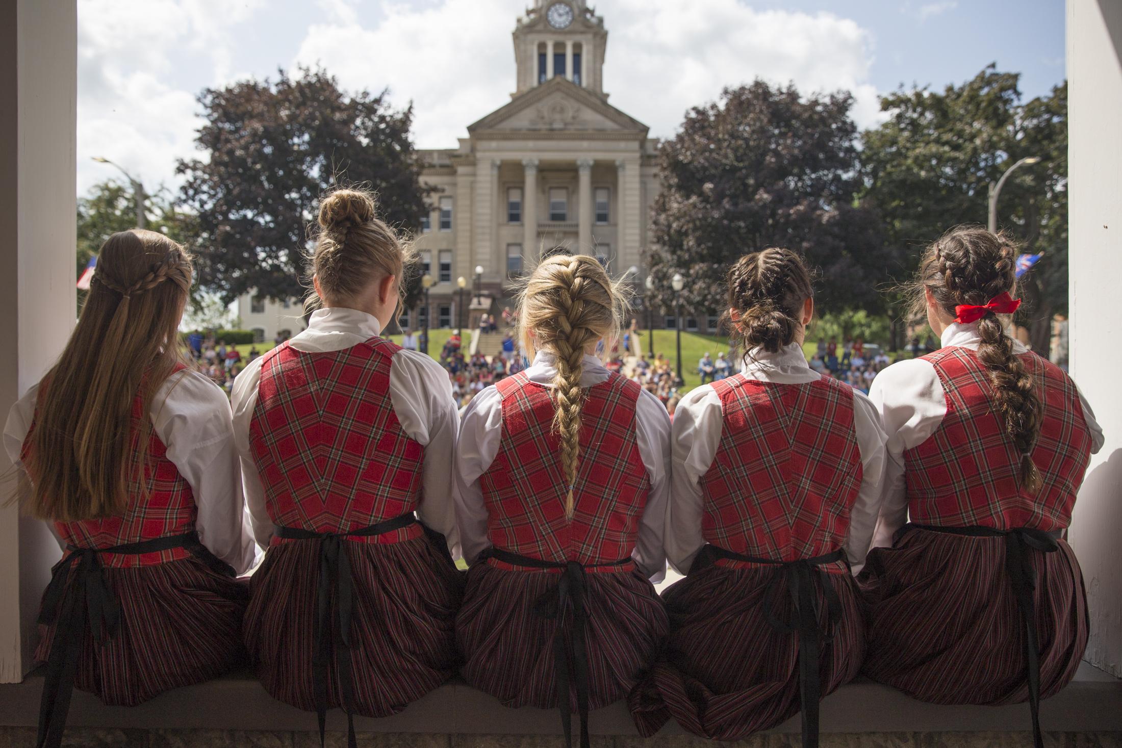 Decorah's high school Nordic Dancers.