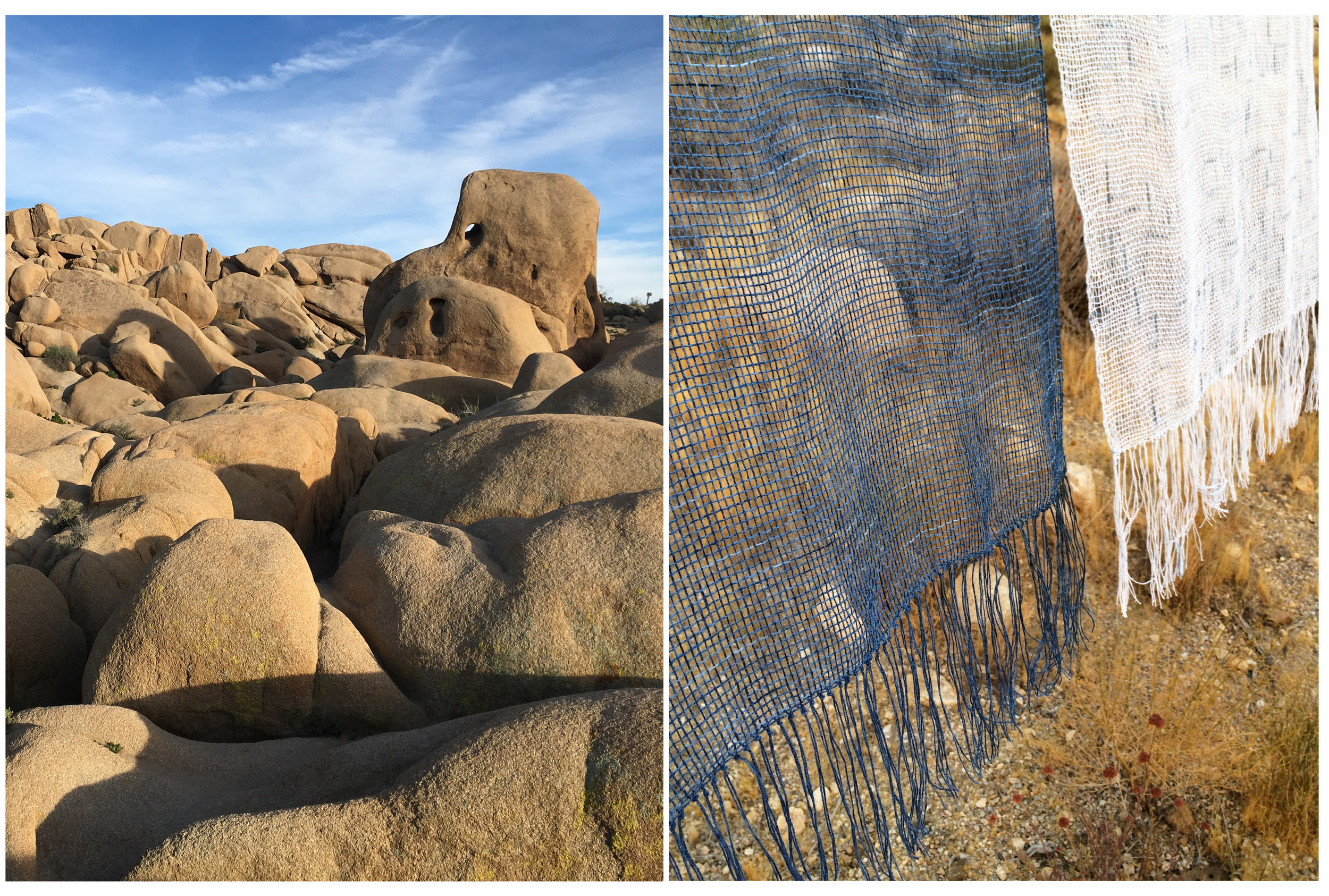 Joshua Tree National Park  , 2016    Exposed Framework, Morning & Evening  , 2016, cotton, indigo, 24 x 72 inches (each)