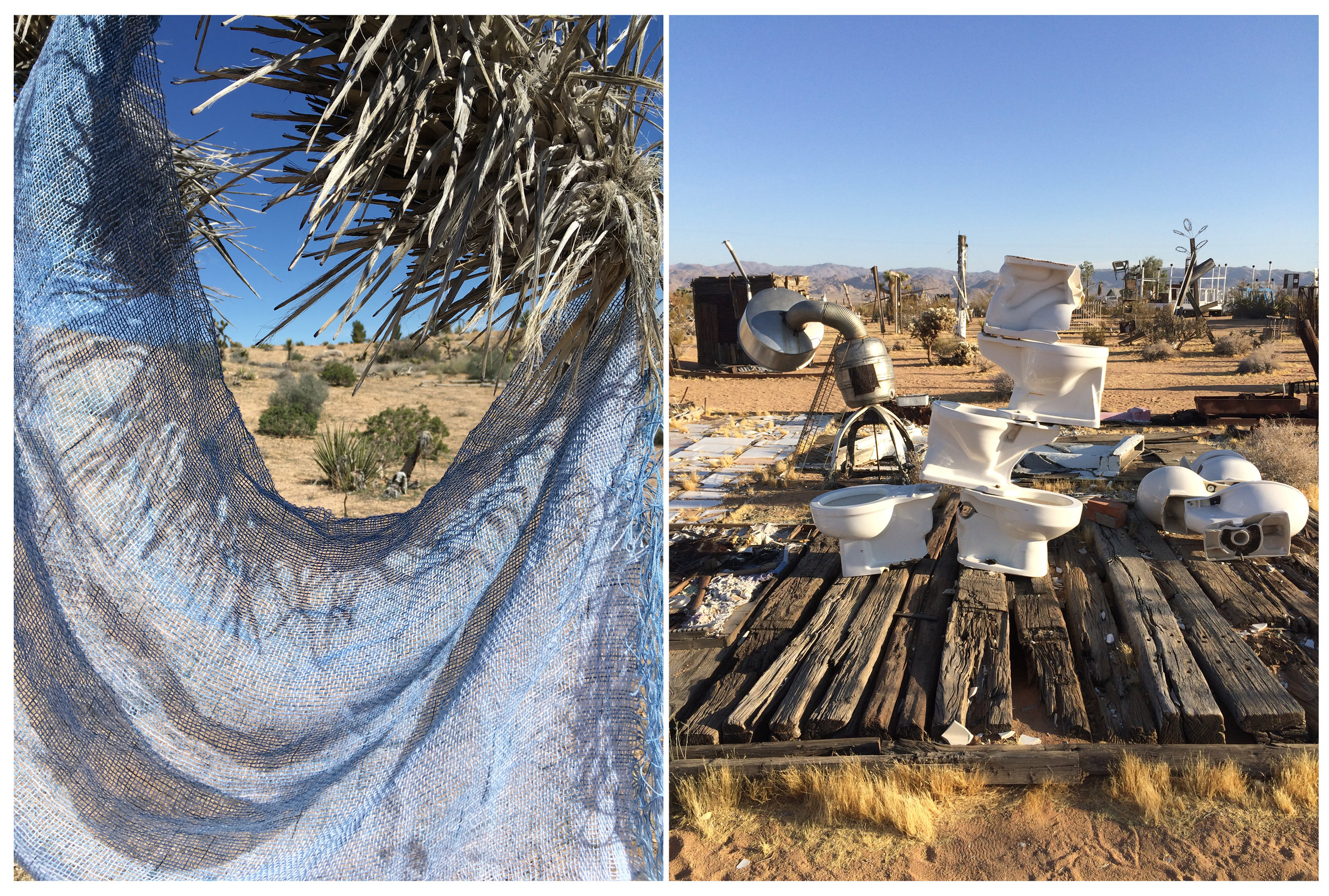 Endless Exposed Framework  , 2017, cotton, indigo, 12 x 144 inches    Noah Purifoy Outdoor Desert Art Museum  , 2016