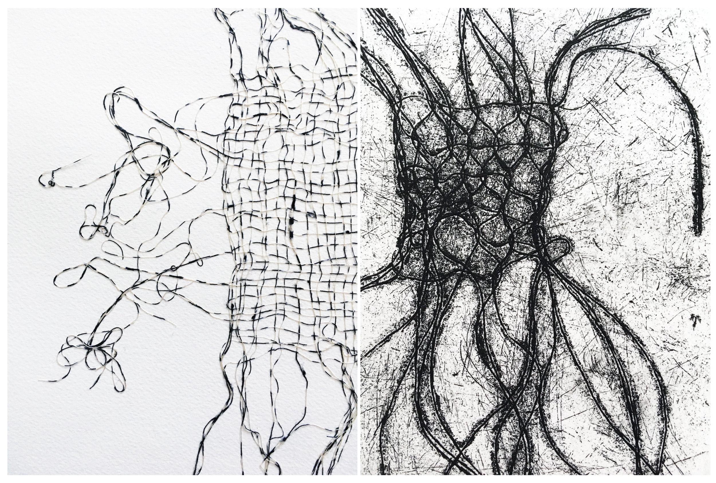Desert Wayfarer I,   2016,cotton threads, 21 1/2 x 25 1/2 inches framed    Desert Aura Print II  , 2017, oil on cotton paper, 12 x 20 inches unframed