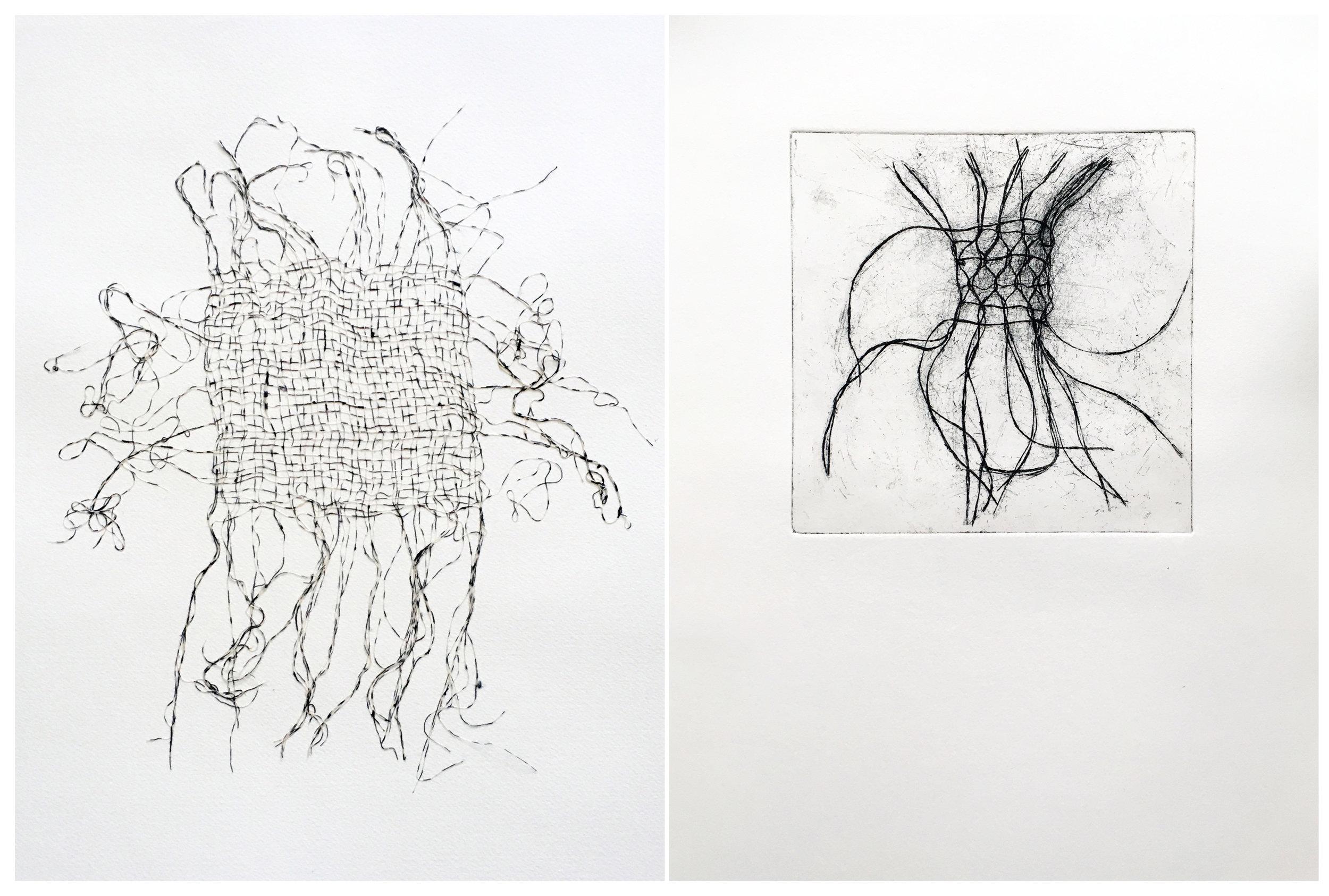 Desert Wayfarer I,   2016,cotton threads, 21 1/2 x 25 1/2 inches framed    Desert Aura Print I  , 2017, oil on cotton paper, 12 x 20 inches unframed