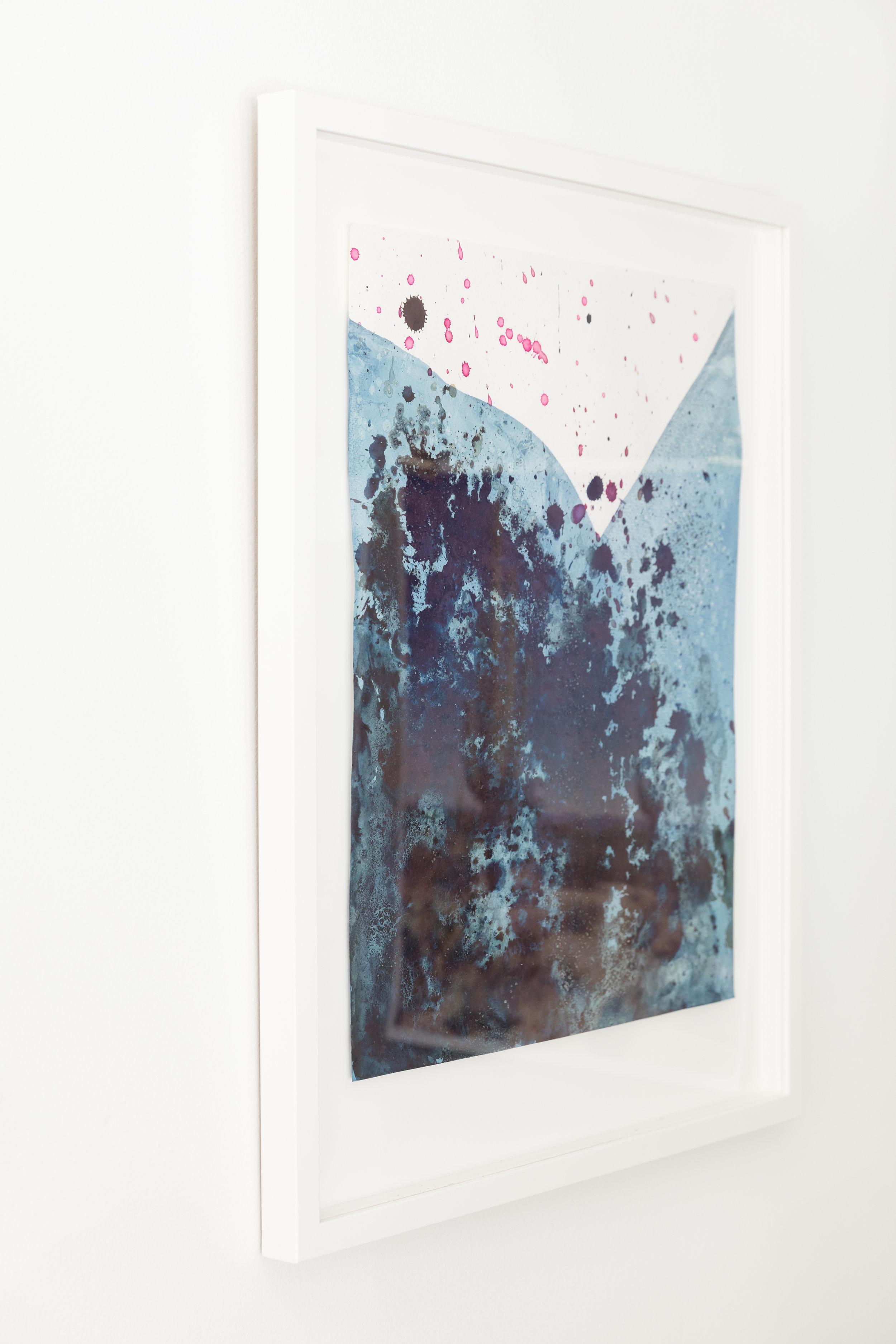 Texas Desert II  , 2017, cotton paper, indigo, poke berries, 21.5 x 25.5 inches framed