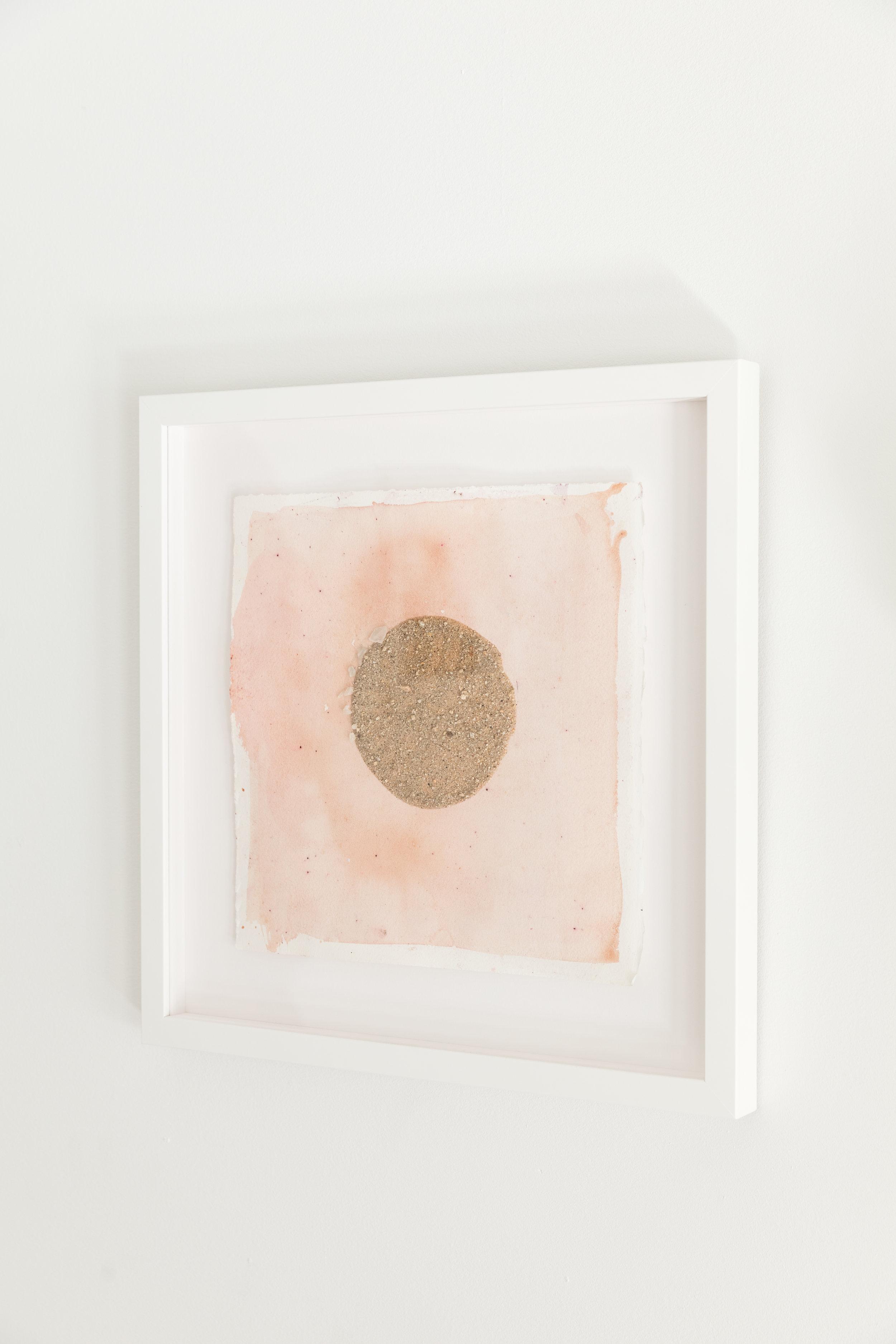 Oaxacan Sunset II  , 2017, cotton paper, brazilwood, sand, henna, 9 x 9 inches framed