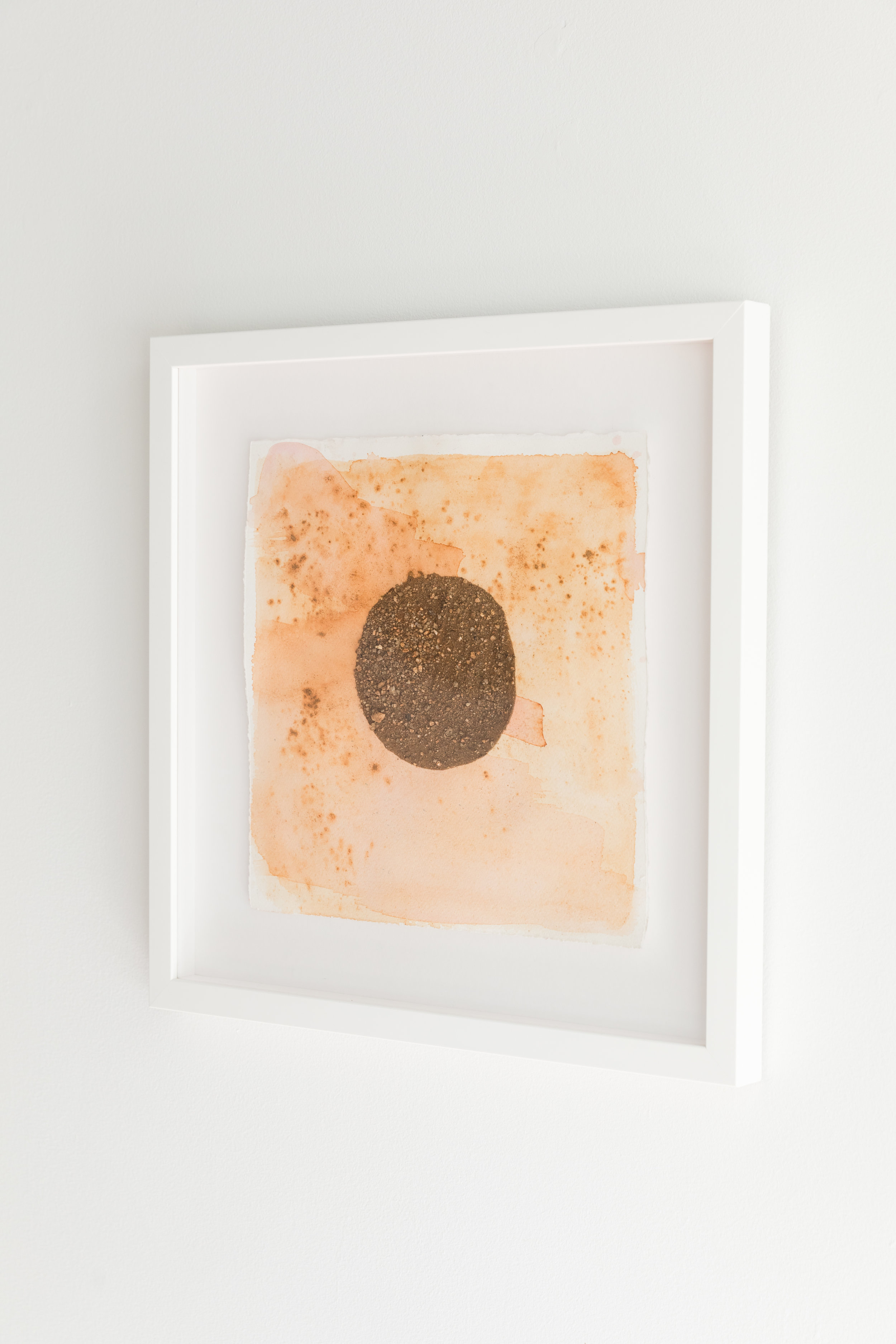 Oaxacan Sunset II  , 2017, cotton paper, cochineal, sand, henna, 9 x 9 inches framed