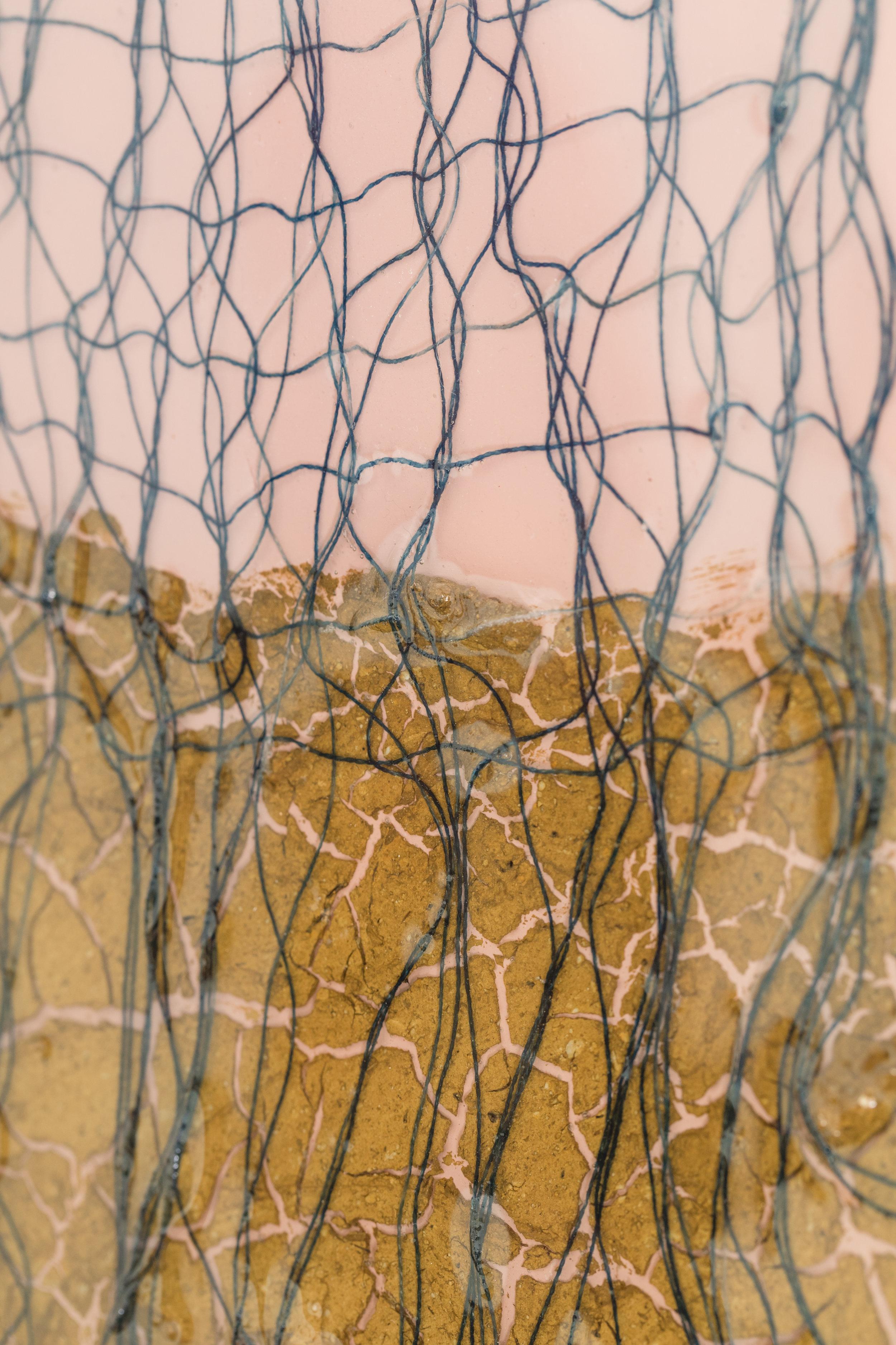 Mojave Sunset (detail)  , 2017, cotton, indigo, sand, spray paint on wood panel, 24 x 30 inches