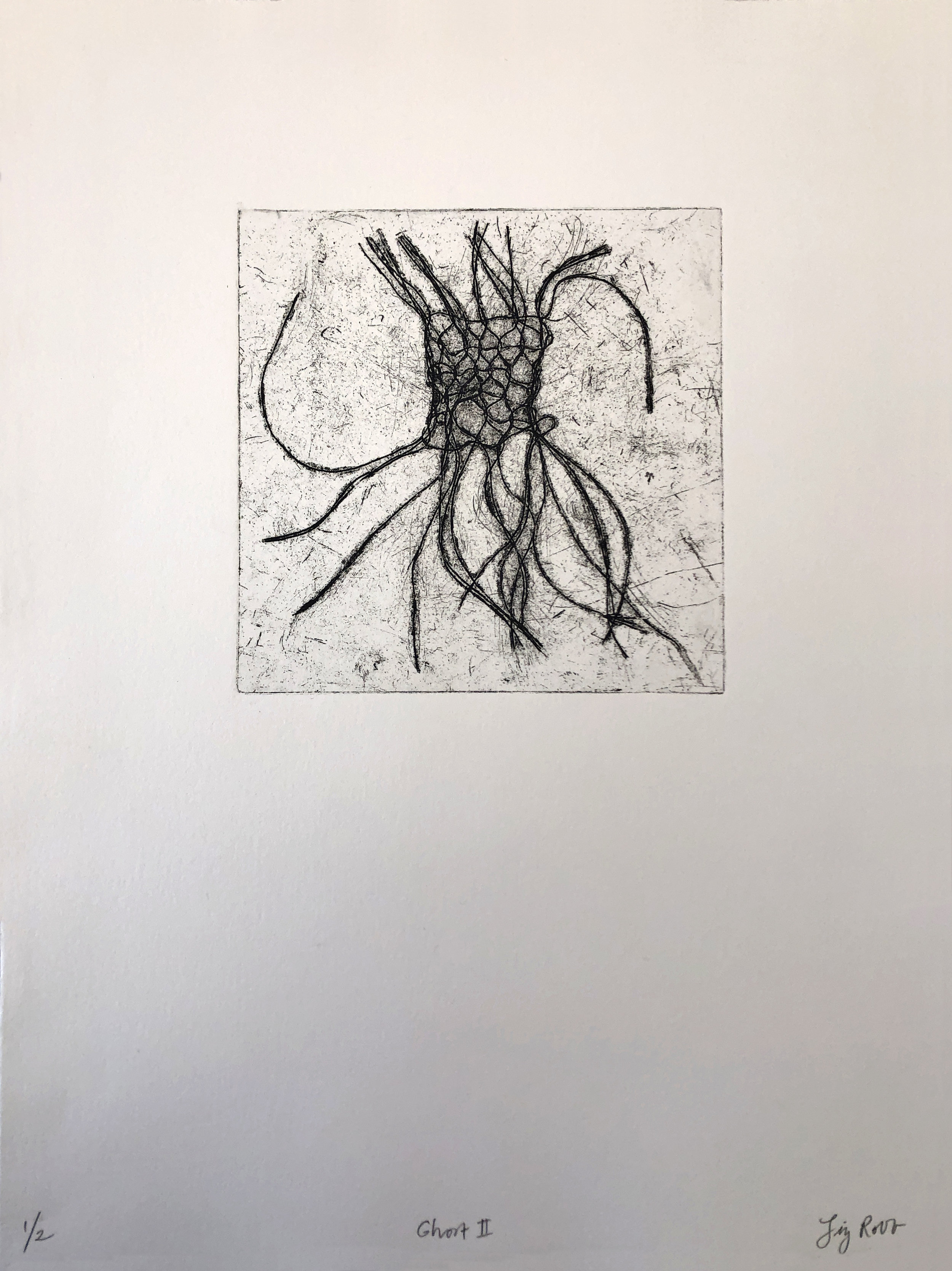 Ghost II  , 2018, etching, oil paint, 19 1/4 x 15 inches framed