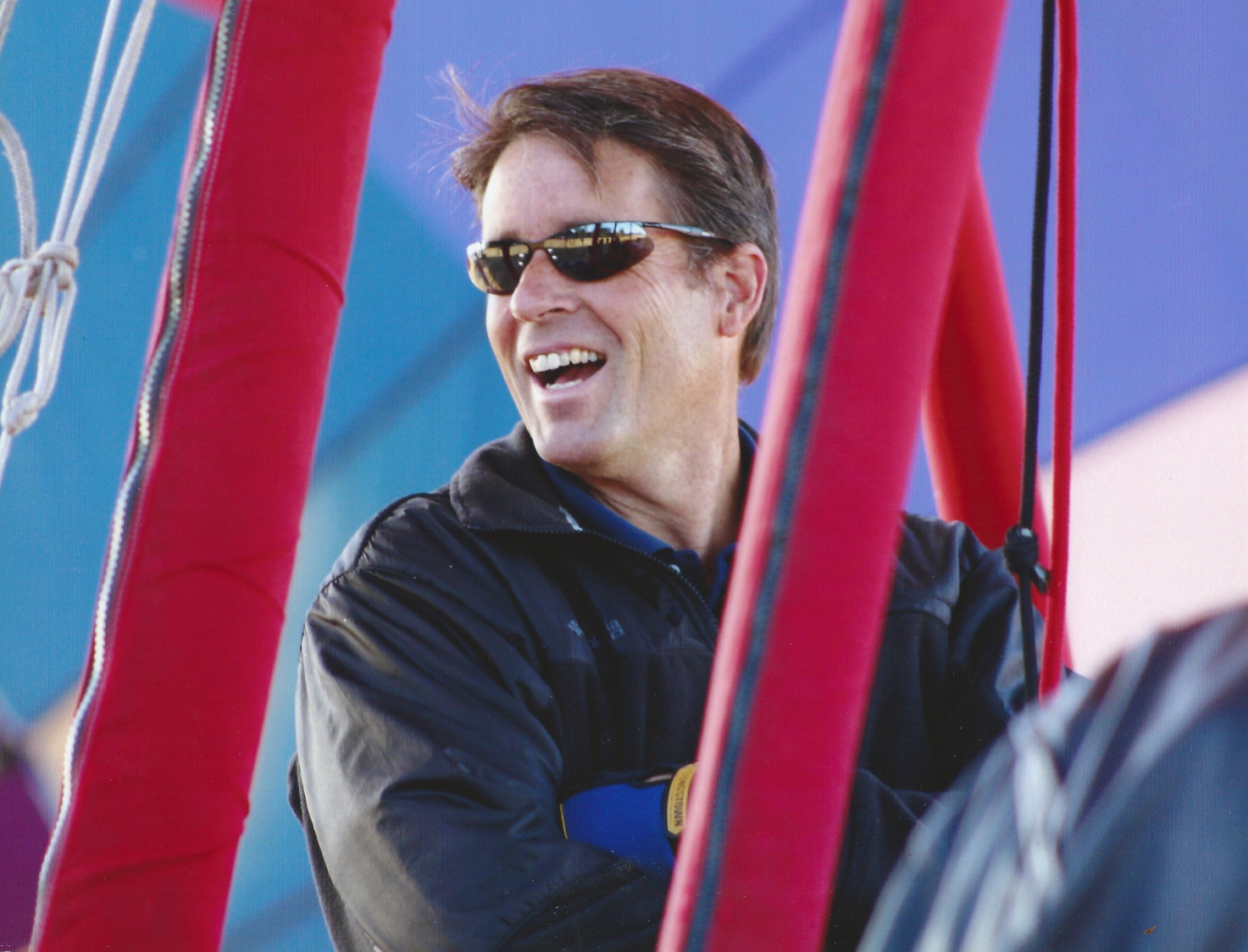 Pilot Kevin Flanagan getting ready for a hot air balloon ride.