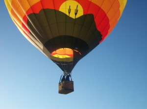 A student pilot training in a hot air balloon.