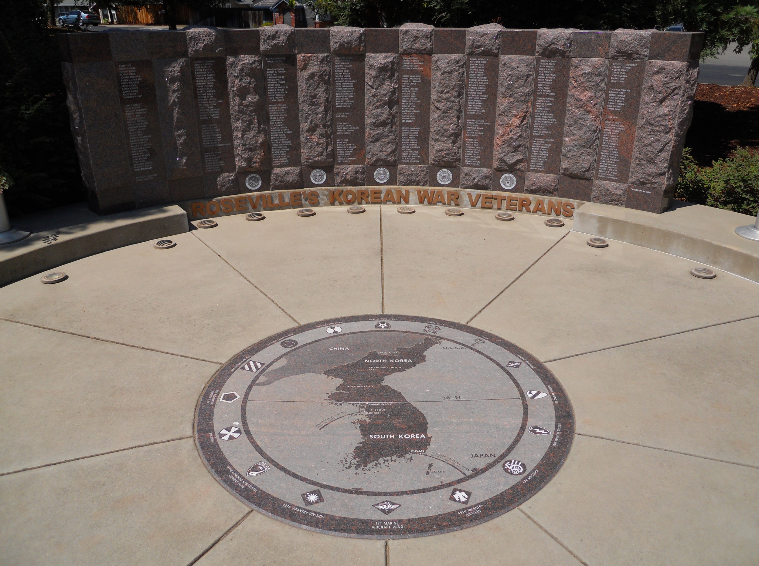 The monument includes a map of Korea.