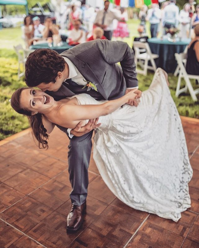I guess this is one way to sweep her off her feet 🥰 The dance floor is always a great place to be during these summer weddings 💃🏼 . . . . . #thepropshoprva #partyrentals #weddingrentals #richmondwedding #eventrentals #dancefloor #brideandgroom #weddingseason #happyhumpday🐫