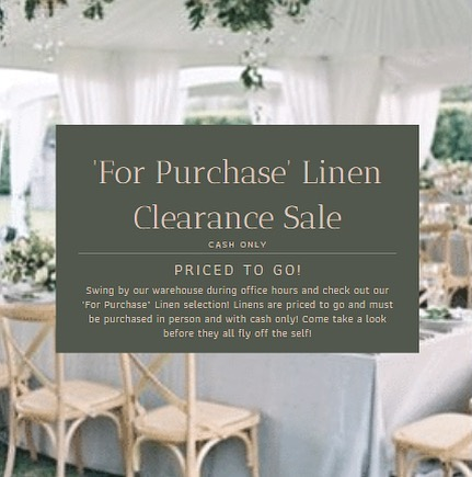 Our 'For Purchase' Linen comes in a wide variety of styles and sizes so come in and take a look while quantities last!