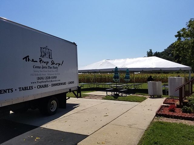 Beautiful 20 X 40  tent set up on this beautiful day!