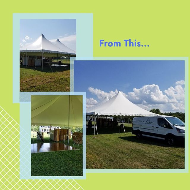 What an amazing before and after moment in our 40X80 pole tent! Our clients really know how to transform a space 😍