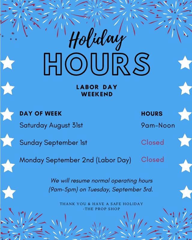 Just a reminder that we will be closed for Labor Day. Normal operating hours will resume on Tuesday September 3rd 😁🇺🇸