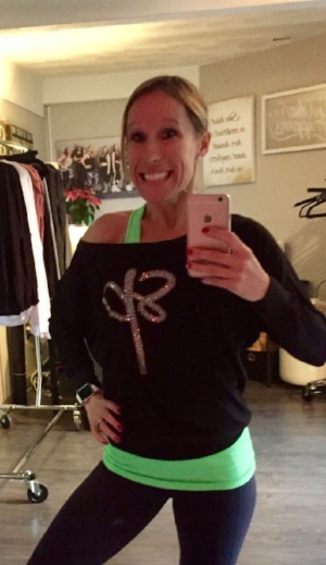 Erica modeling some of our brand new holiday Poisewear - stop by to check out all the limited edition swag!