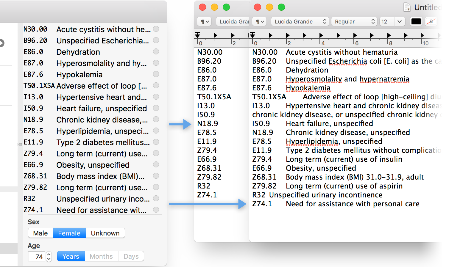 Transfer Data - Copy the codes to the clipboard so you can use them in another app as text.